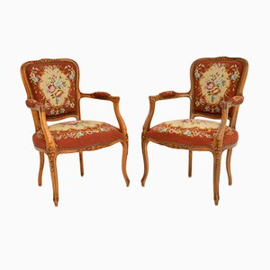Antique French Tapestry Armchairs, Set of 2