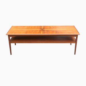 Rectangular Teak Two-Tier Coffee Table with Inlaid Top, 1960s
