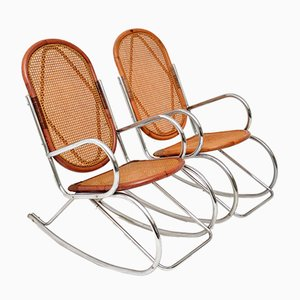 Retro Chrome & Bamboo Rocking Chairs, 1970s, Set of 2