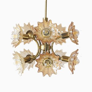 Mid-Century Brass & Glass Ceiling Lamp from Sische Leuchten
