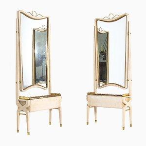 Vintage Italian White Wood & Brass Mirrors by Pietro Lingeri, 1940s, Set of 2