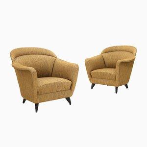 Armchairs in Hazelnut Fabric, 1960s, Set of 2