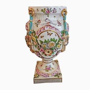 Antique White Glazed Porcelain Vase with Floral Decoration