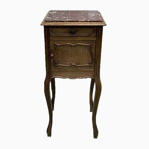Louis XV Nachttisch aus Nussholz & Marmor, 1930er