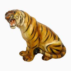 Escultura de tigre grande rugiendo, Italia