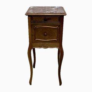 Louis XV Walnut & Marble Nightstand, 1930s