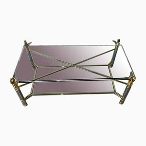 Gilt Bronze & Glass Coffee Table by Maison Charles, 1970s