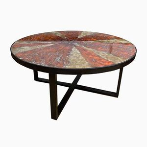 Swiss Enameled Ceramic Coffee Table by G. Olivier, 1970s