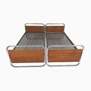 Camas estilo Art Déco de metal cromado, años 50. Juego de 2