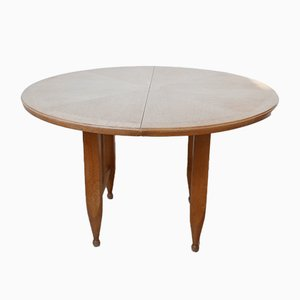 Vintage Round Oak Extendable Dining Table by Guillerme et Chambron