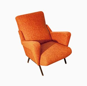 Italienischer Orangenfarbener Vintage Sessel, 1950er