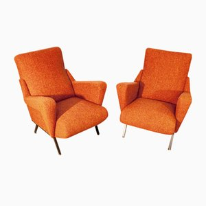 Vintage Italian Orange Living Room Set, 1950s, Set of 2