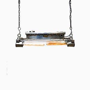 Kleine rechteckige Aluminium Deckenlampe, 1960er