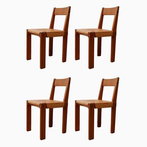 Vintage French Elm & Leather S24 Dining Chairs by Pierre Chapo, Set of 4