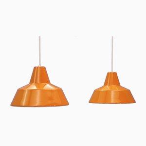 Danish Orange Ceiling Lamps from Louis Poulsen, 1970s, Set of 2