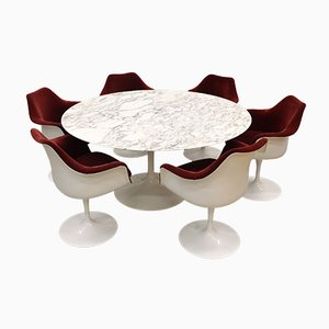 Marble Tulpi Dining Table & Chairs Set by Eero Saarinen for Knoll Inc. / Knoll International, 2000s, Set of 7