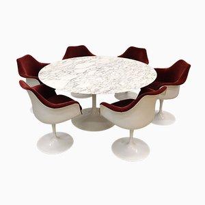 Set da pranzo e tavolo in marmo Tulpi di Eero Saarinen per Knoll Inc. / Knoll International, inizio XXI secolo, set di 7