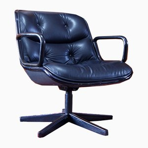 Black Leather Desk Chair by Charles Pollock for Knoll Inc. / Knoll International, 1970s