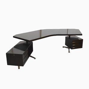 Italian Mahogany T96 Boomerang Desk by Osvaldo Borsani for Tecno, 1970s