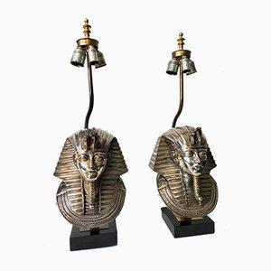 Pharaoh Table Lamps by Maison Jansen for DeKnudt, 1970s, Set of 2