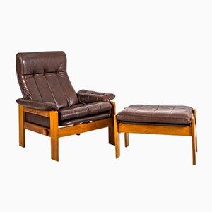 Vintage Leather Atlanta Armchair and Stool in Teak by Sven Ellekaer for Skipper, Set of 2
