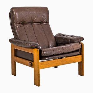Vintage Teak & Leather Atlanta Armchair by Sven Ellekaer for Skippers Mobler A/S Design, 1980s