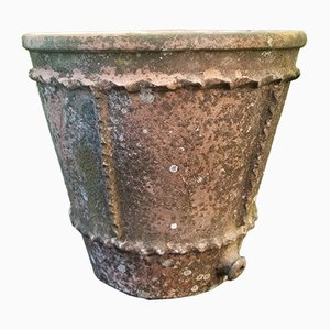 Grand Pot de Fleurs Vintage en Terre Cuite de Bohême
