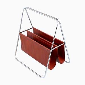 Chrome and Artificial Leather Magazine Rack by Brabantia, 1970s