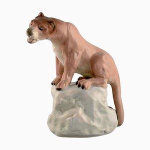 Hand-Painted Porcelain Amphora Figurine of Lioness on Rock, Czechoslovakia