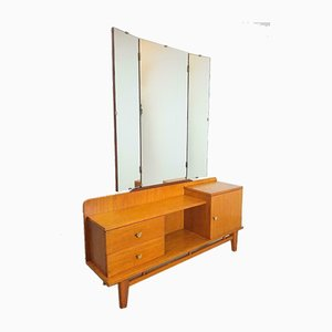 Vintage Scandinavian Teak Low Board with Mirror