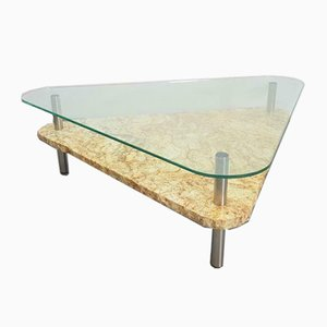 Vintage Triangle Marble Glass Coffee Table