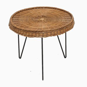 Cane Side Table with Hairpin Legs, The Netherlands, 1960s