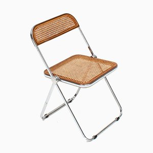 Vintage Pila Stuhl aus Korbgeflecht und Nussholz von Giancarlo Piretti