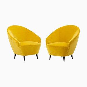 Sessel aus New Cotton Samt, Italien, 1950er, 2er Set
