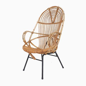 Rattan Lounge Chair by Rohe Noordwolde, The Netherlands 1950s