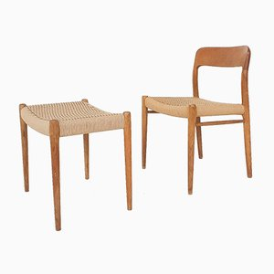 Papercord Model 80 Stool in Teak by Niels Otto Moller, Denmark, 1950s