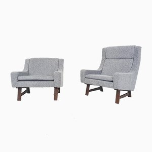 Dutch Lounge Chairs with Wenge Feet, Set of 2