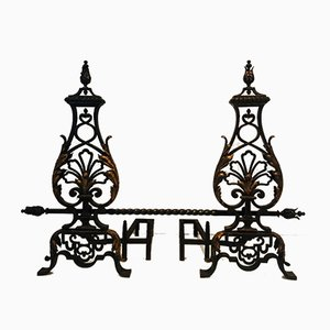 Wrought Iron and Gilt Iron Andirons with Twisted Bar, France, 1940s, Set of 2