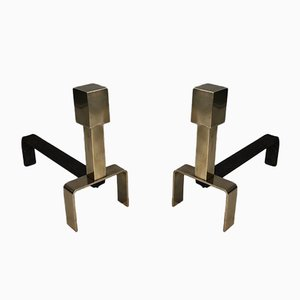 Brass and Wrought Iron Andirons, France, 1970s, Set of 2