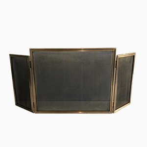 Brass and Grilling Folding Fire Place Screen, France, 1970s