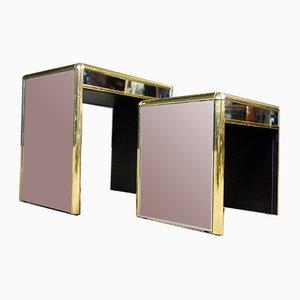 Tables Gigognes Vintage avec Miroirs, 1970s, Set de 2