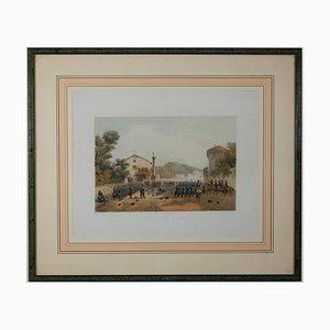 Ferdinando Perrin, Defense of Varese by Giuseppe Garibaldi, Lithograph, 1860
