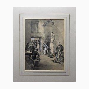 Edoardo Matania, Garibaldi in Südamerika gefoltert, Tinte und Tempera, 20. Jahrhundert