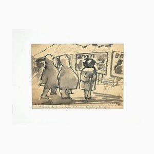 Mino Maccari, Figure, Watercolor, 1960s