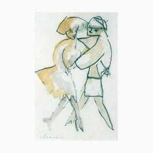 Mino Maccari, Dancers, Oil Pastel and Watercolor, 1980s