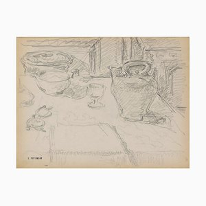 Serge Fontinsky, Still Life, Pencil Drawing, Mid-20th Century