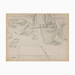 Serge Fontinsky, Stilleben, Bleistiftzeichnung, Mitte 20. Jahrhundert