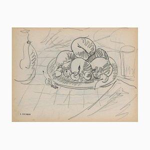 Serge Fontinsky, Obstkorb, Bleistift, Mitte 20. Jahrhundert