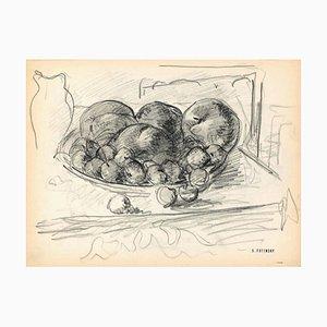 Serge Fontinsky, Corbeille à Fruits, Crayon, Mi-20ème Siècle