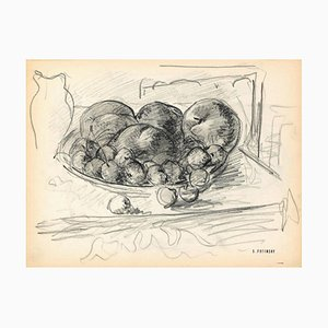 Serge Fontinsky, Fruit Basket, Pencil, Mid-20th Century